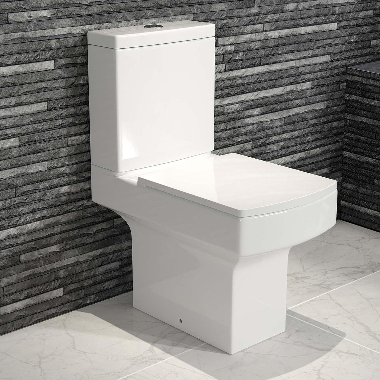 Modern Square Ceramic WC Toilet Close Coupled White Bathroom Cistern ...