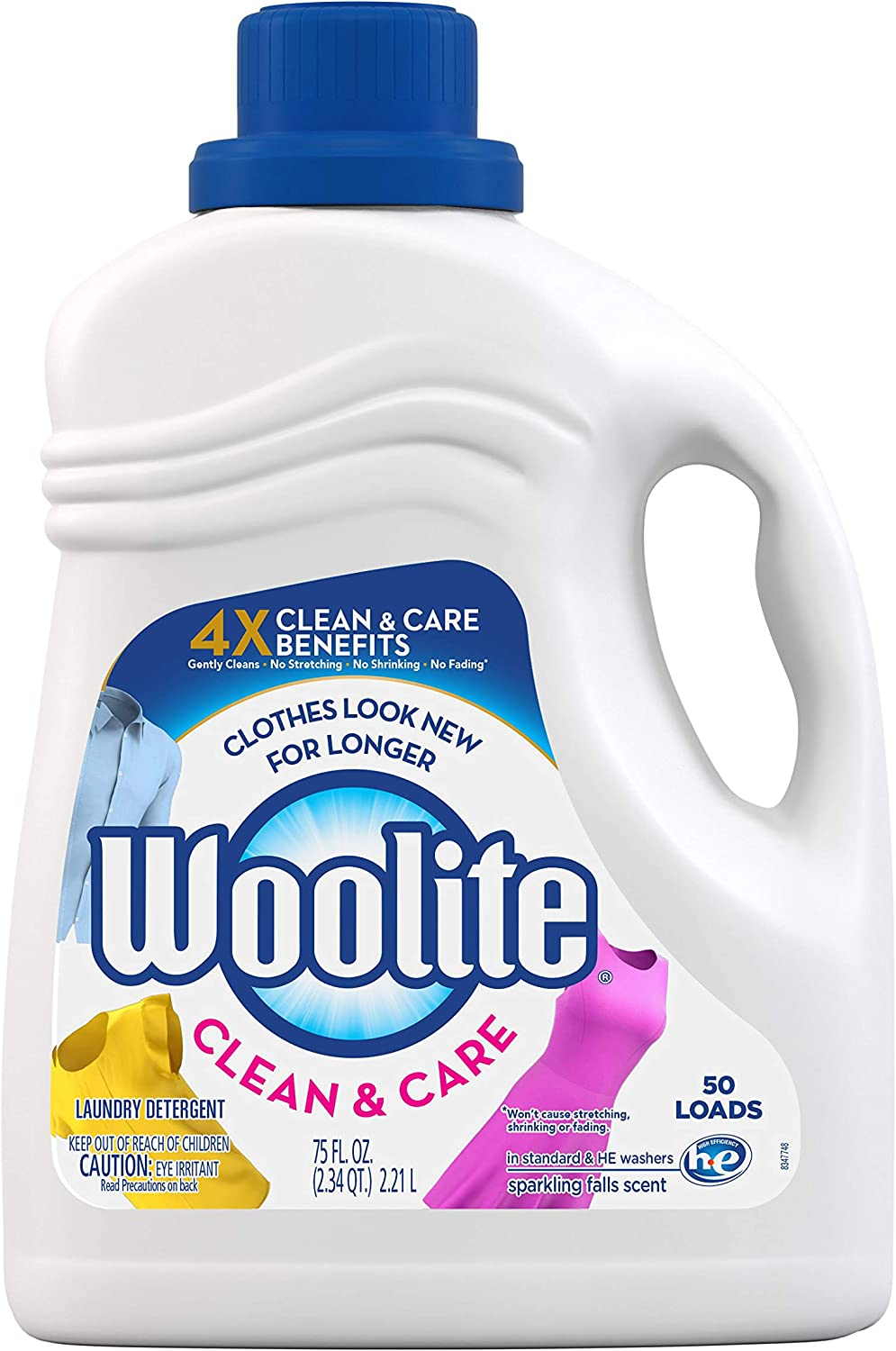 Woolite Gentle Cycle Liquid Laundry Detergent , Sparkling Falls Scent, 75 Ounce/ 50 loads