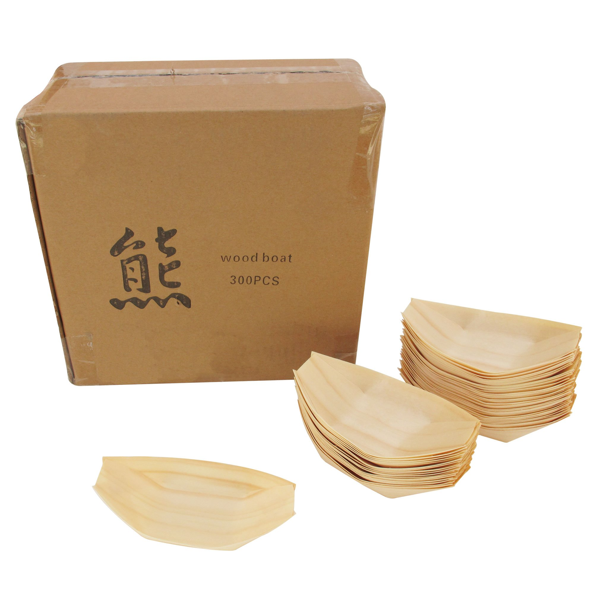 BambooMN Brand - Disposable Wood Boat Plates / Dishes, 5.25'' Long x 3'' Wide x 1'' High, 100 Pieces by BambooMN (Image #4)