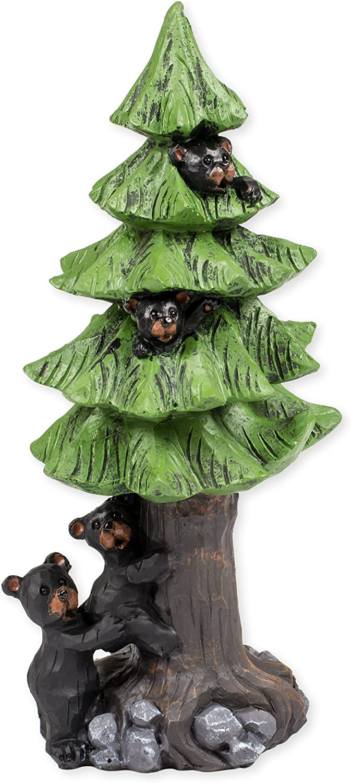 Slifka Sales Co. Black Bears in Tree 8 x 4 x 3.5 Inch Resin Crafted Tabletop Figurine
