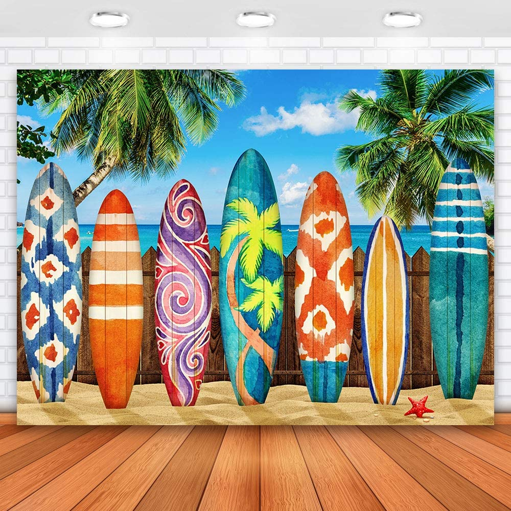 Allenjoy 7x5ft Tropical Backdrop Surfboard Backdrop for Photography Beach Backdrop Hawaii Backdrop Summer Backdrop Decoration for Party