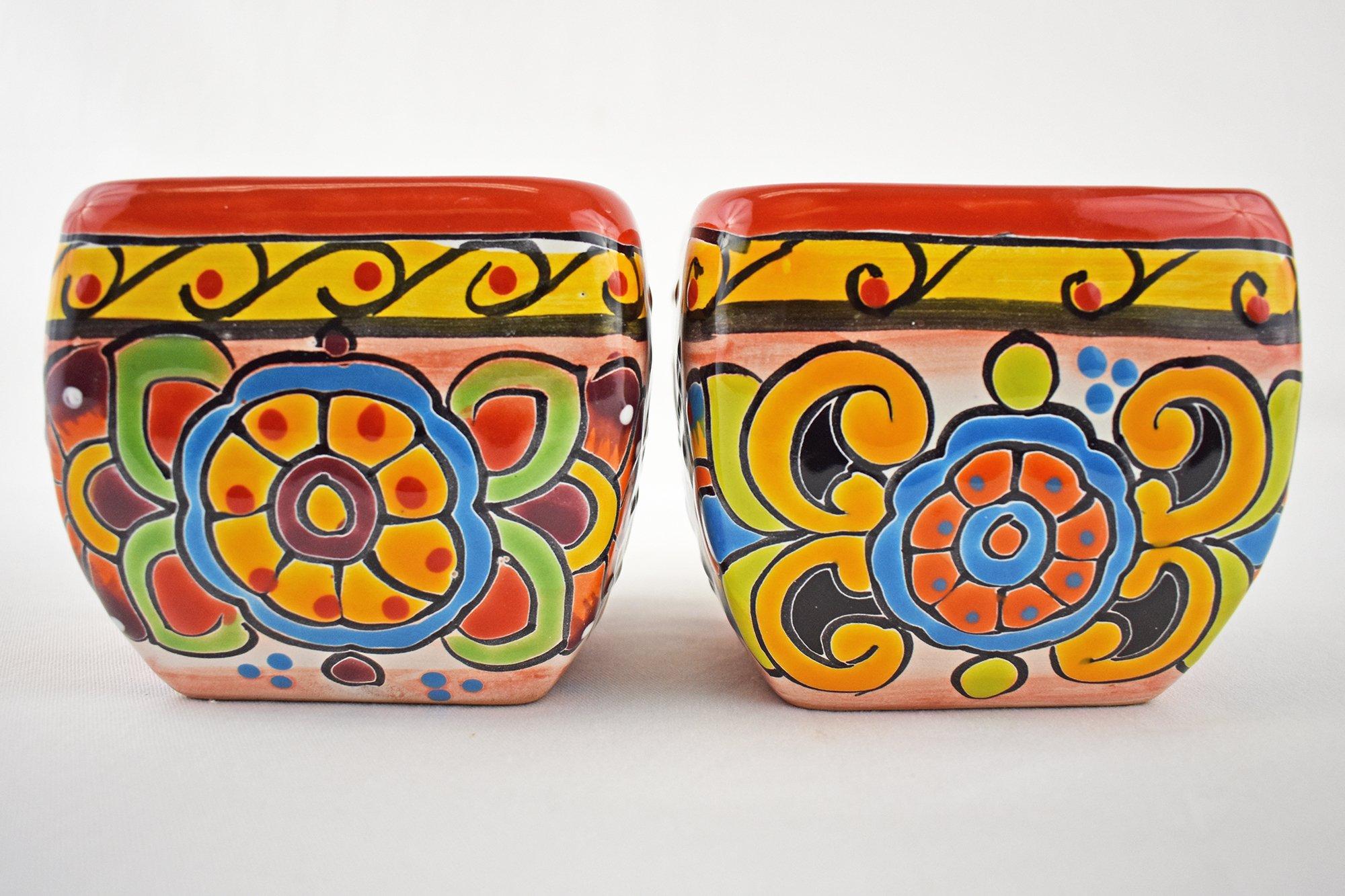 Talavera Bubble Square Set of 2 Planter Pot Hand Painted Ceramic Garden Decor (Red)