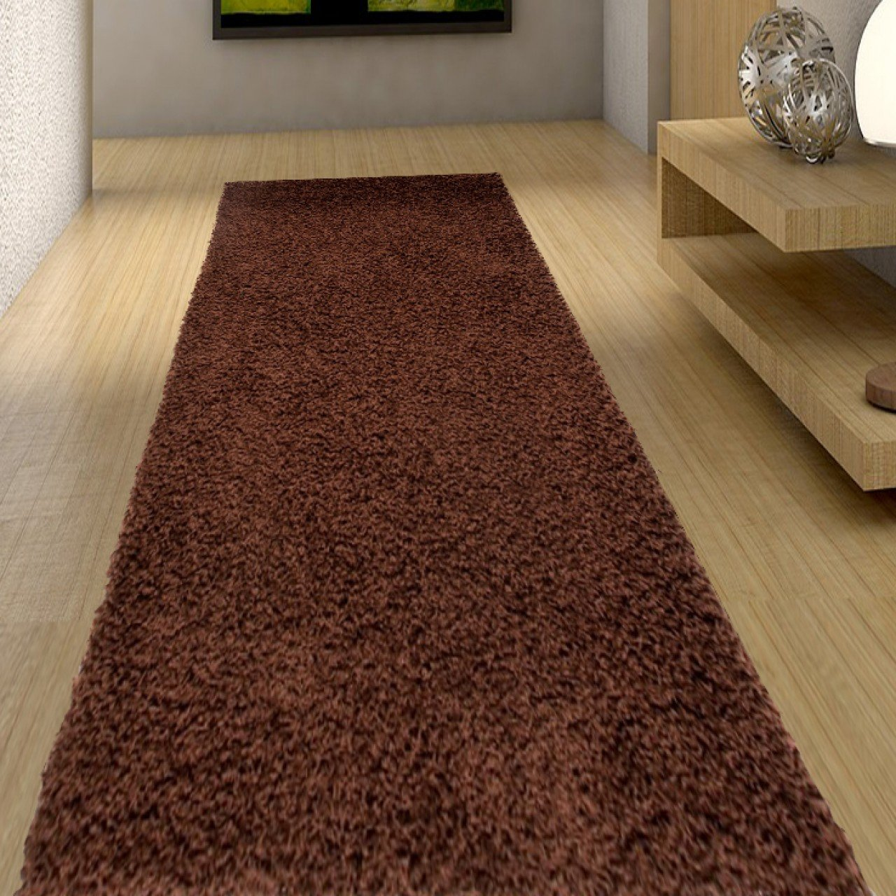 Brown Shaggy Runner With Soft And Very Thick Frise 80 x 250 cm (2ft7 x 8ft2) Tapiso