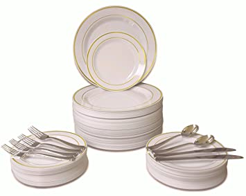 360 PIECE / 60 guest \u0026quot;OCCASIONS\u0026quot; Wedding Disposable Plastic Plate and Silverware Combo  sc 1 st  Amazon.com & Amazon.com: 360 PIECE / 60 guest \