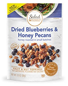 Salad Pizazz ! | Salad Topping | OZ - 12 3.5 OZ (3.5 ) Resealable Bags Dried Blueberries & Honey Toasted Pecans ,42 Ounce