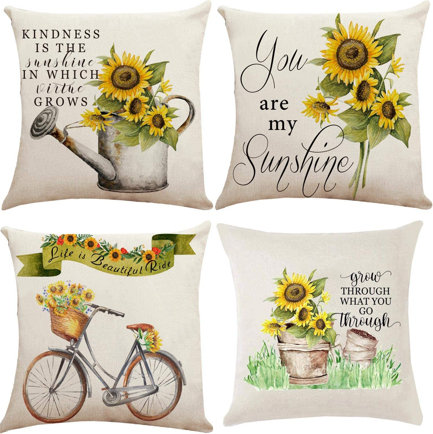 Munzong You are My Sunshine Sunflower Throw Pillow Covers 18 x 18 Inch, Double Side Print Summer Pillowcases, Farmhouse Country Chic Square Seasonal Cushion Covers for Home Bedroom Sofa Chair Decor