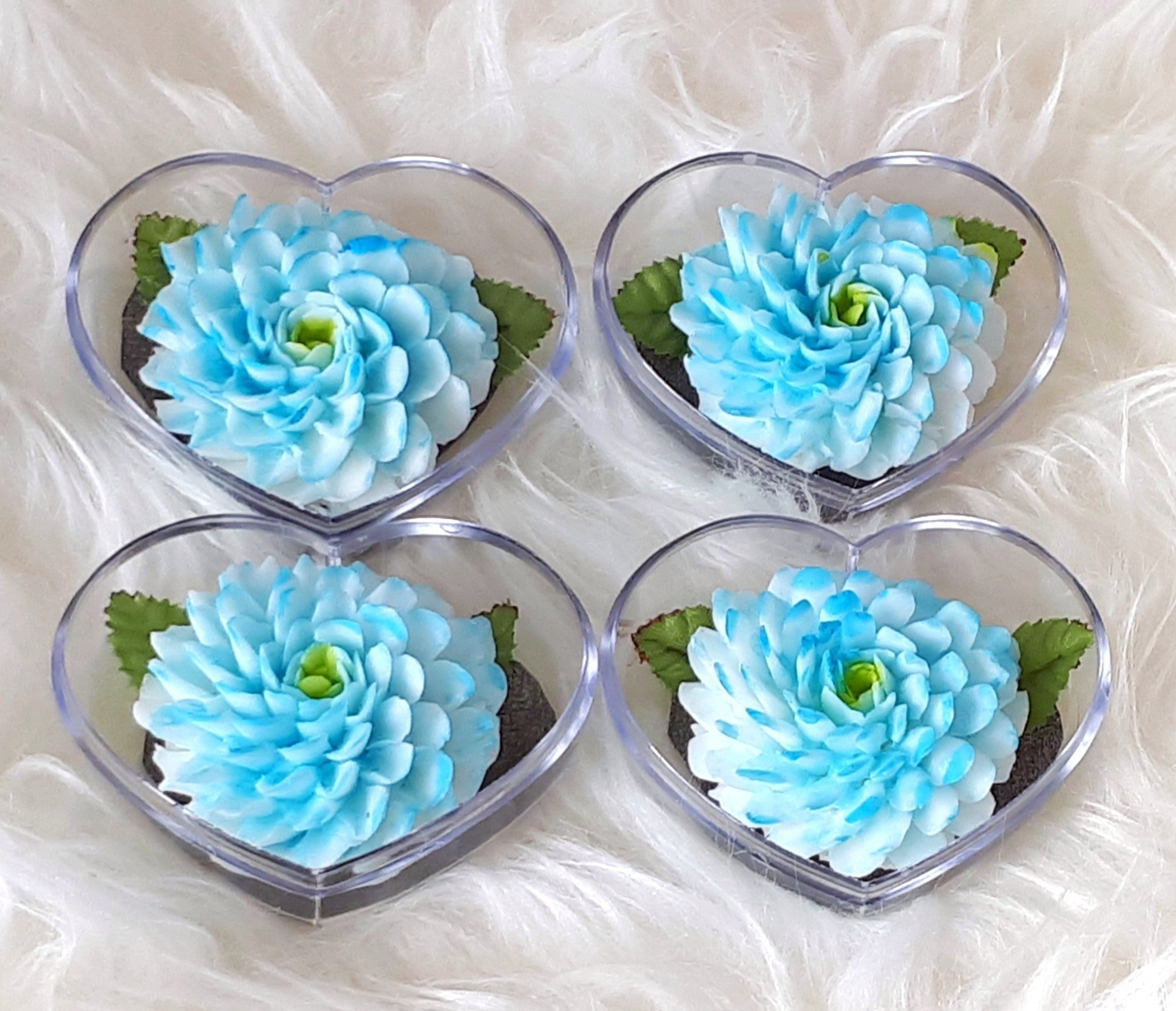 Blue Zinnia Set of 4 Hand Carved Decorative Soaps with Jasmine Aroma Essential Oil, Handmade Flower Soap Carving by Thai Artisan