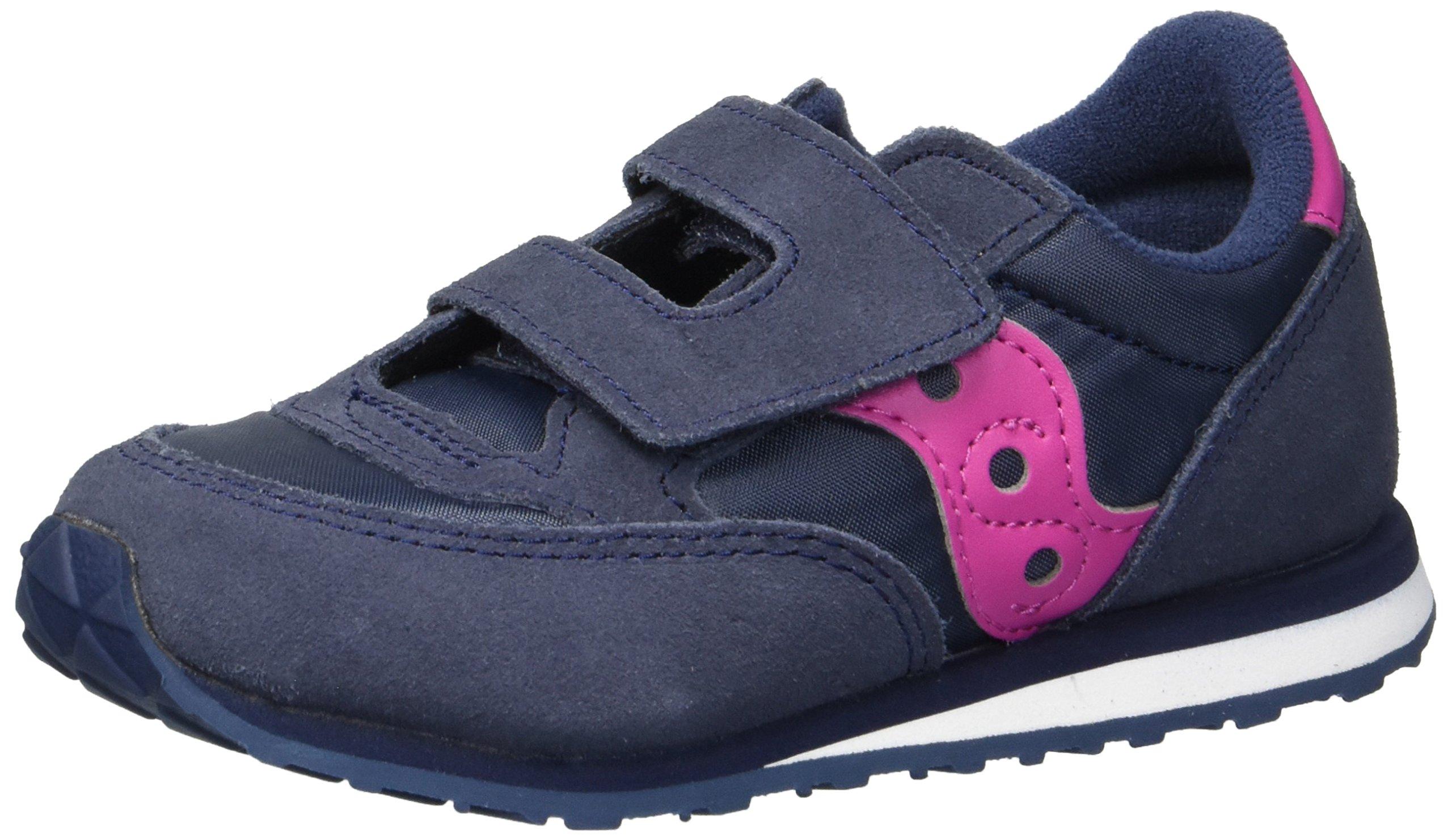 Saucony Girls' Baby Jazz HL Sneaker, Navy/Pink, 8 Medium US Toddler