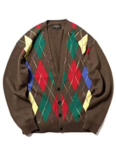 Wool Argyle V-neck Cardigan 11-15-1041-048