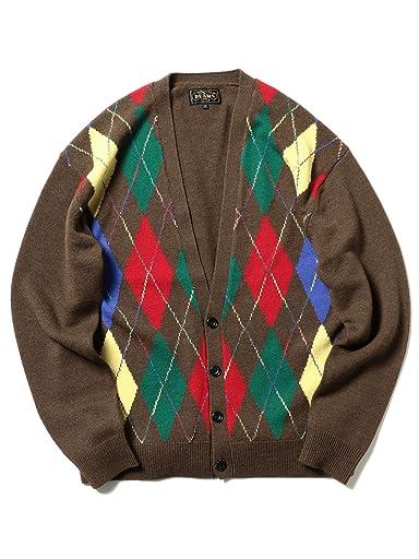 Wool Argyle V-neck Cardigan 11-15-1041-048: Brown