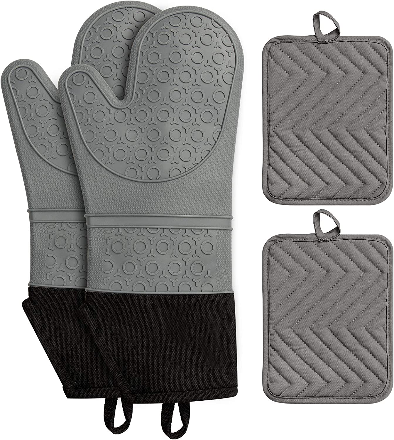 IMILLET Oven Mitts and Pot Holders Set, 4-Piece Set Silicone Heat Resistant Oven Mitts, Extra Long Oven Gloves, Oven Mitts and Pot Pads Kitchen Gloves with No-Slip Flexible for Baking Cooking Grey