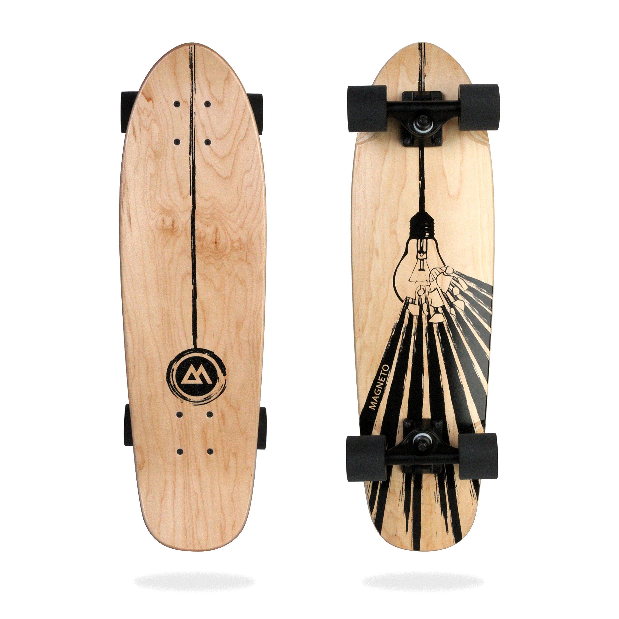 Magneto Mini Cruiser Skateboard Cruiser   Short Board   Canadian Maple Deck - Designed for Kids, Teens and Adults … (Light-Bulb)