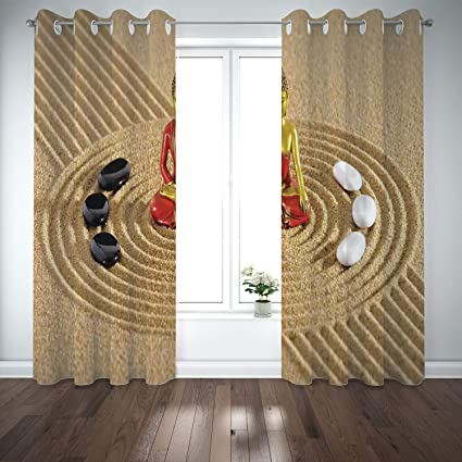 Amazon.com: SCOCICI Grommet Polyester Window Curtains Drapes ...