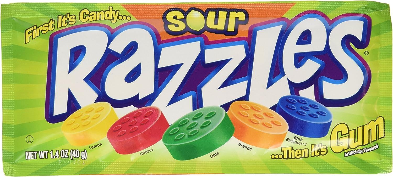 Sour Razzles Candy, 1.4oz Pouches, 24-Count: Amazon.es ...