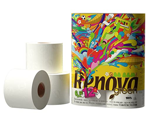 84 Rolls of Renova Green Eco Friendly 100% Recycled White Toilet ...