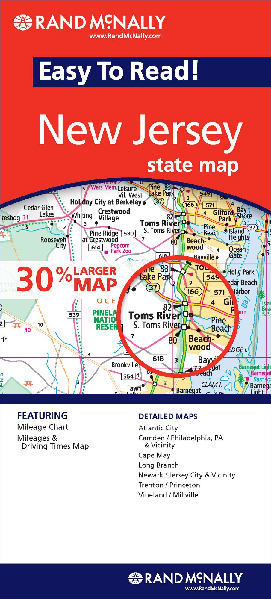 Rand McNally State Map New Jersey  Rand McNally Easy To Read