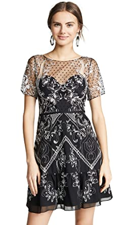 2e55b364a26c Marchesa Notte Women's Chiffon Dotted Tulle Cocktail Dress at Amazon ...