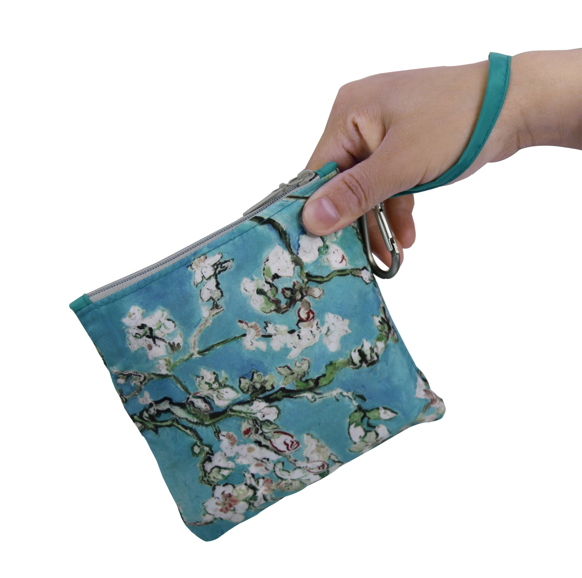 Reusable Grocery Bags with Zipper Closure,Foldable into Zippered Pocket … (Apricot tree) by BeeGreen (Image #5)