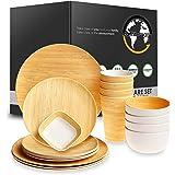 Reusable Bamboo Dinnerware Set - 4 Guest [17 Pieces] - Bamboo Fiber Tableware Set for Adult & Kids - Wooden Design Plates, Cu