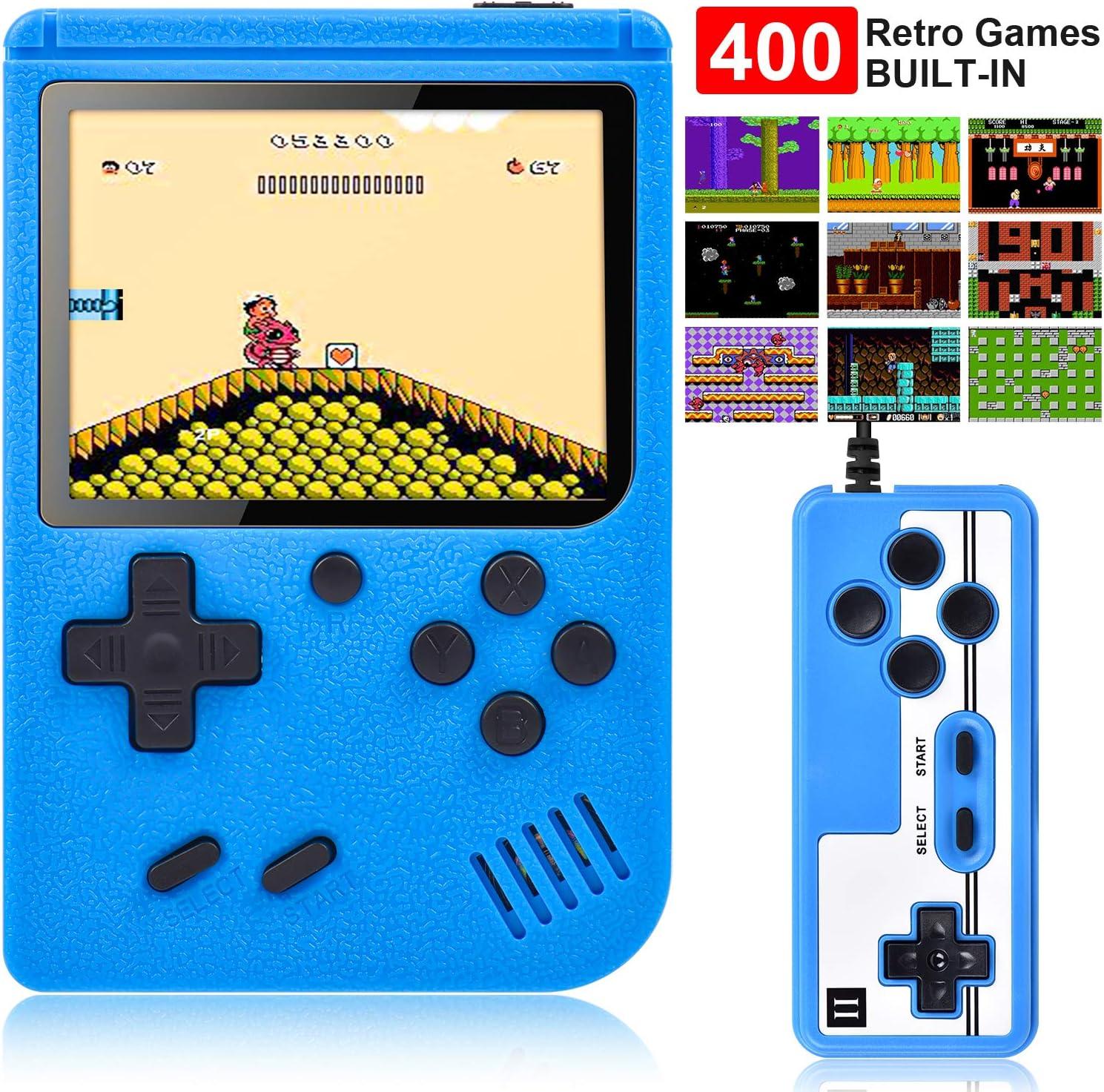 Gamory Consola de Juegos Portátil Consola Retro 400 Juegos Clásicos y Pantalla a Color de 2.8 Pulgadas para 2 Jugadores Soporte TV Juegos Portátiles Consolas Juega 3 horas para Niños y Adultos