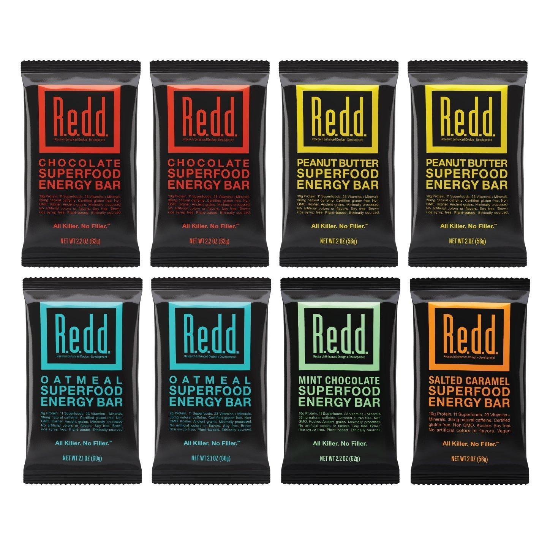 REDD Plant Based Protein Bar - 8 Bars -  2 Chocolate, 2 Oatmeal,  2 Peanut Butter, 1 Mint, 1 Salted Caramel - Gluten Free, Vegan, Low Sugar, High Fiber, Probiotics