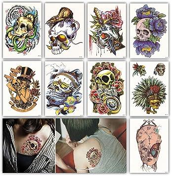 614022257 Amazon.com: DevilFace Large Temporary tattoos for Men Women, 9 ...