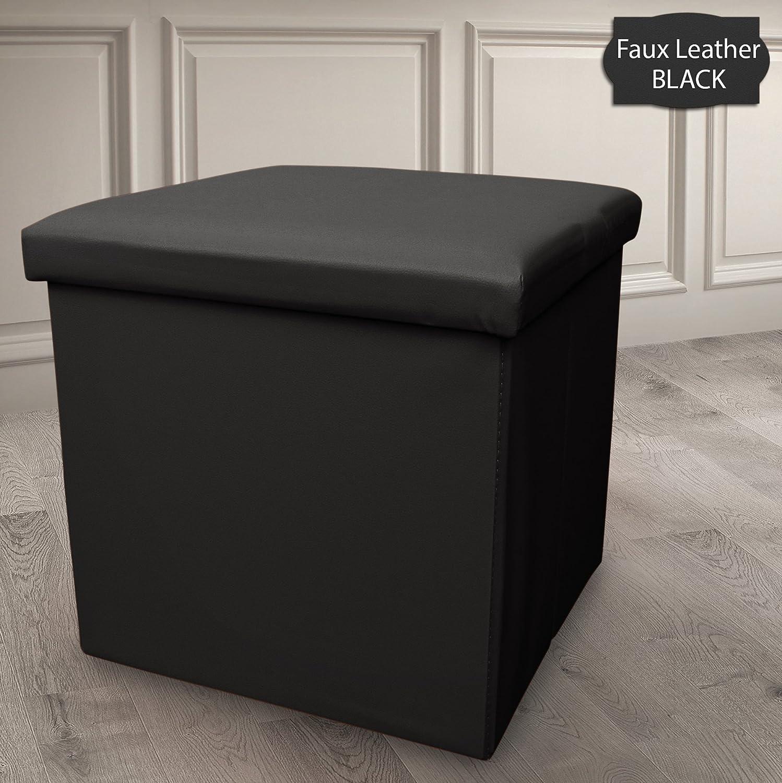 Ashley Mills Single Seat Ottoman Foldaway Storage Blanket Toy Box Bench Faux Leather Black 38x38cms