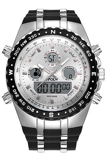 Reloj De Hombre Militar Plata Silicona Reloj de pulsera Sport Reloj digital Analog Hombres Reloj De Cuarzo Dual Display: Amazon.es: Relojes