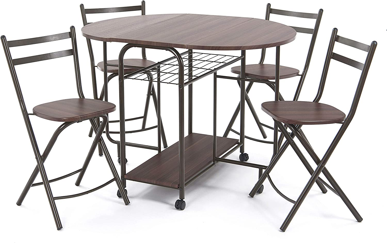 Stowaway Dining Table and Chairs Dining Table Set with Wood Grain ...