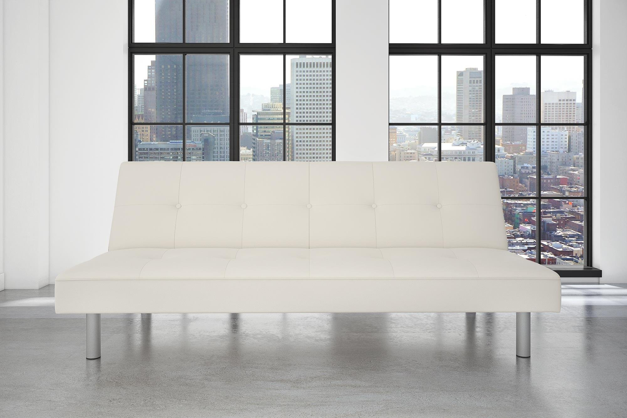 DHP Nola Futon Couch with Tufted Faux Leather Upholstery, Modern Style, White Faux Leather by DHP (Image #3)