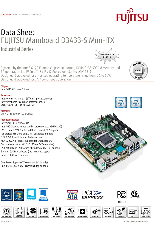 Fujitsu D3433-S Intel Q170 LGA 1151 (Zócalo H4) Mini ITX ...