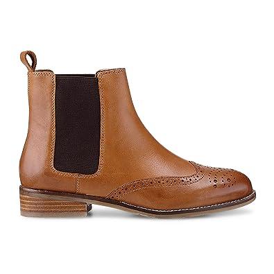 de78f96da9a Cox Damen Damen Chelsea-Boots aus Leder, Stiefeletten in Braun mit  stylischer Lyra-
