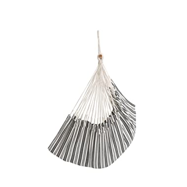 ELC HAMMOCK Large Hanging Rope Hammock Chair Porch Swing Seat for Patio, Yard, Bedroom, Porch, Indoor or Outdoor - Max. 330 Lbs, Gray Stripes