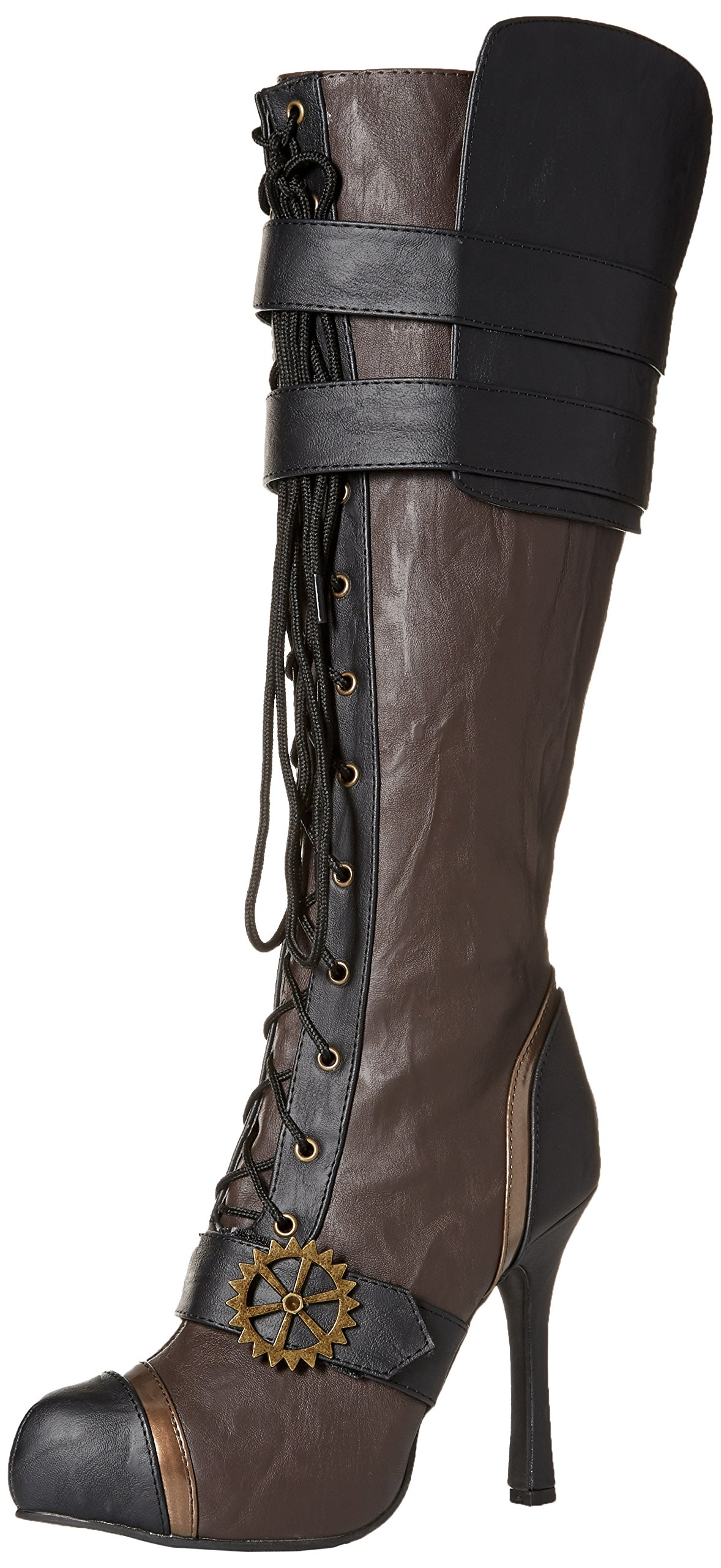 "Ellie Shoes Women's 420 Quinley 4"" Knee High Steampunk Boot with Laces 3"