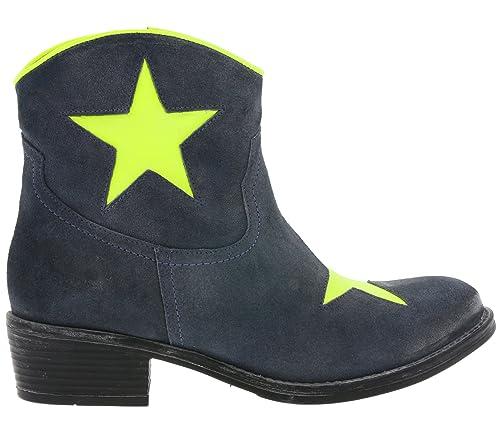 Botines Cowboy de Cuero Real para Mujer Azul xyxyx, tamaño:40 ...