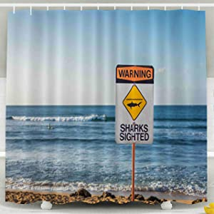 Tooperue Shower Curtain for Bathroom with Hooks Warning Sign Sharks Have Been in The Water Beach on North Shore of Hawaii Indicating Sighted at 78×72 Inch,Eco-Friendly,No Oder,Waterproof,Green Orange