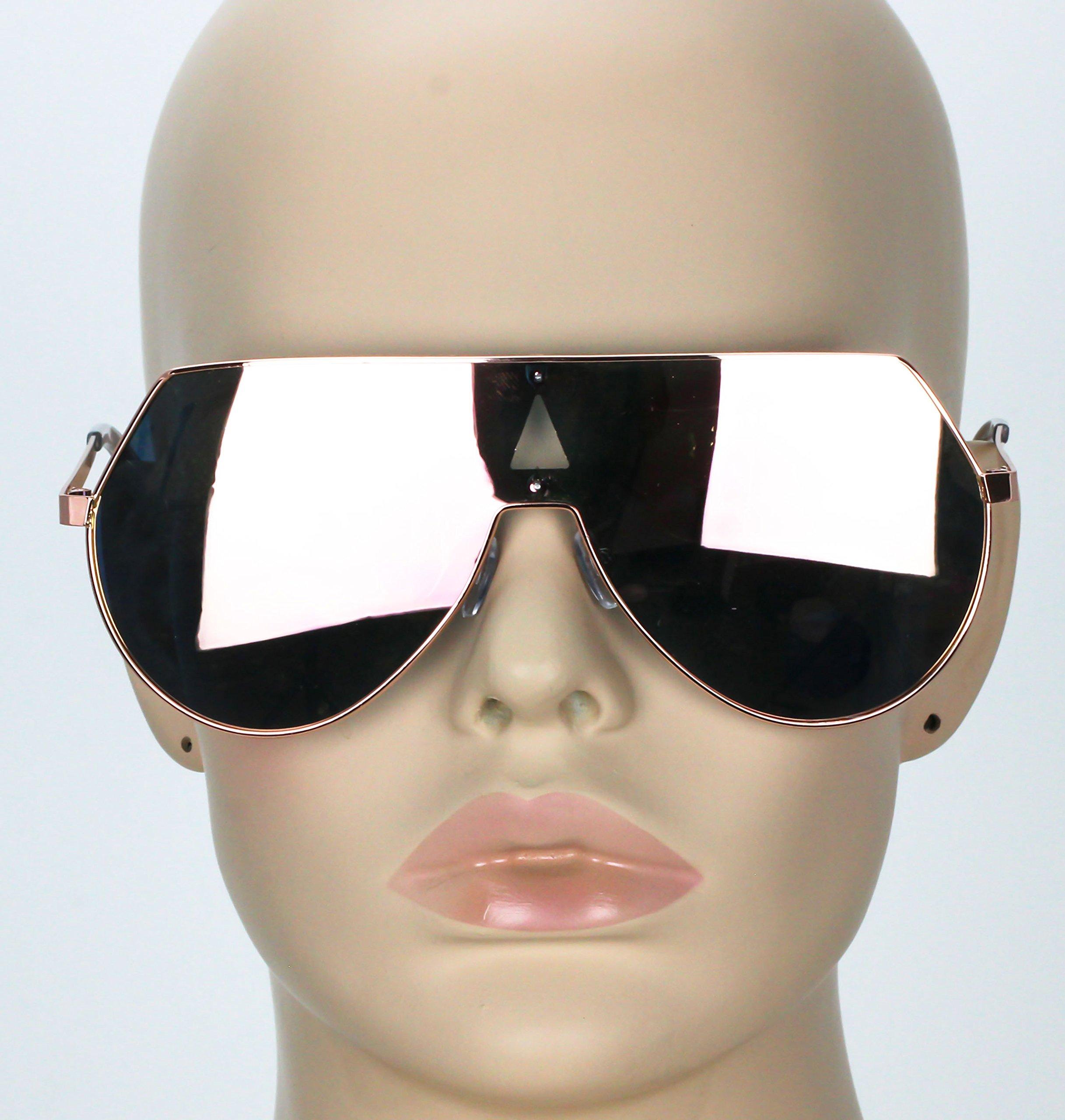 Elite Oversize Unisex Flat Top Aviator Retro Shield Mirrored Lens Rimless Sunglasses (Rose Pink Mirror, 5.8) by EliteGlasses (Image #3)