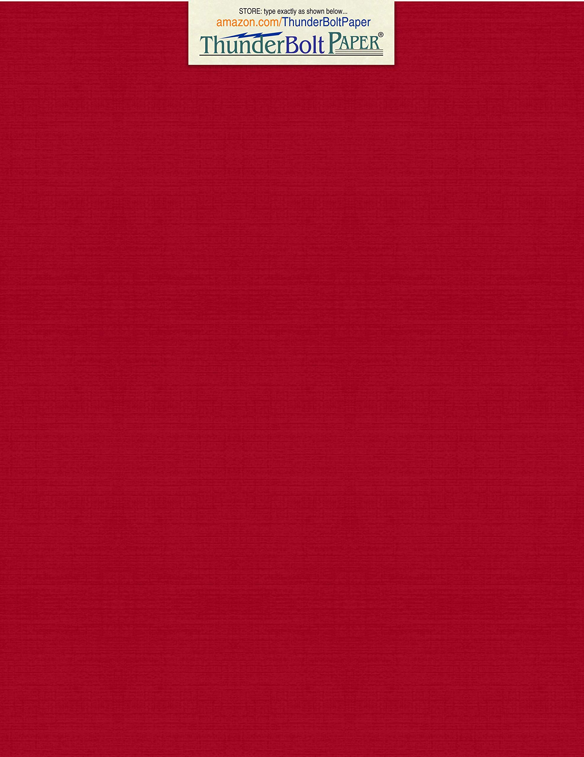 50 Deep Bright Red Linen 80# Cover Paper Sheets - 8.5'' X 11'' (8.5X11 Inches) Standard Letter|Flyer Size - 80 lb/pound Card Weight - Fine Linen Textured Finish - Deep Dye Quality Cardstock by ThunderBolt Paper