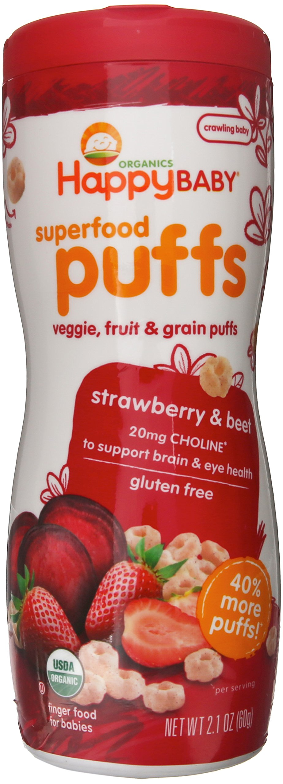 Happy Baby Organic Superfood Puffs, Strawberry & Beet, 2.1 Ounce (Pack of 6)