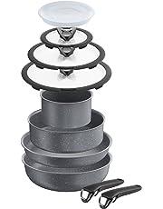 Lagostina Ingenio Induction Batteria di Pentole, 10 Pezzi, Effetto Pietra, Alluminio Antiaderente, Grigio, 16 cm
