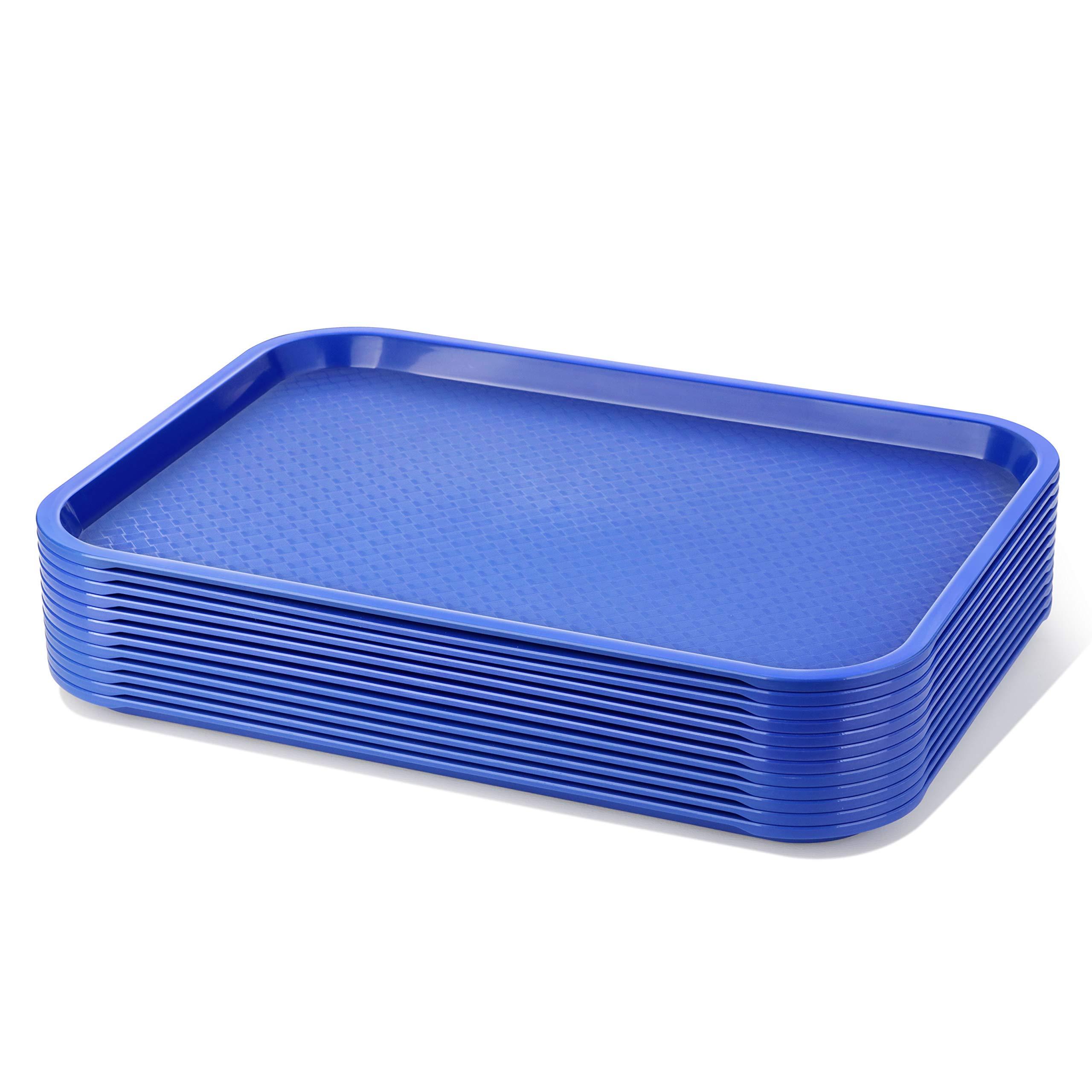 New Star Foodservice 24548 Plastic Fast Food Tray, Set of 12 , 12 by 16-Inch, Blue by New Star Foodservice