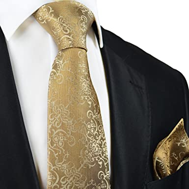 92d3ec5cff32 Amazon.com: Paul Malone Silk Tie and Pocket Square Gold Vines: Clothing