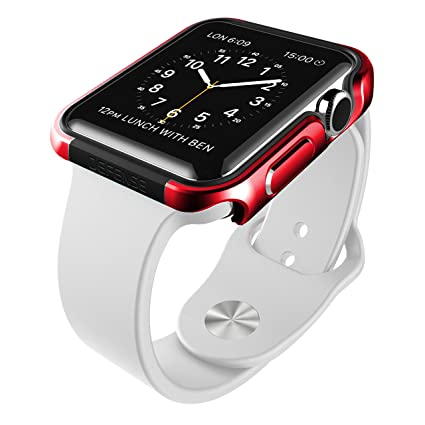 detailed look d0313 d096c X-Doria 38mm Apple Watch Case (Defense Edge) Premium Aluminum and TPU  Bumper Frame (Red) - Compatible with Apple Watch Series 1, Series 2 and  Nike+