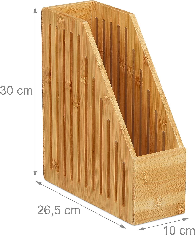 1 Ud Portadocumentos Alto AA Relaxdays Revistero de bamb/ú Marr/ón 30x10x26,5 cm