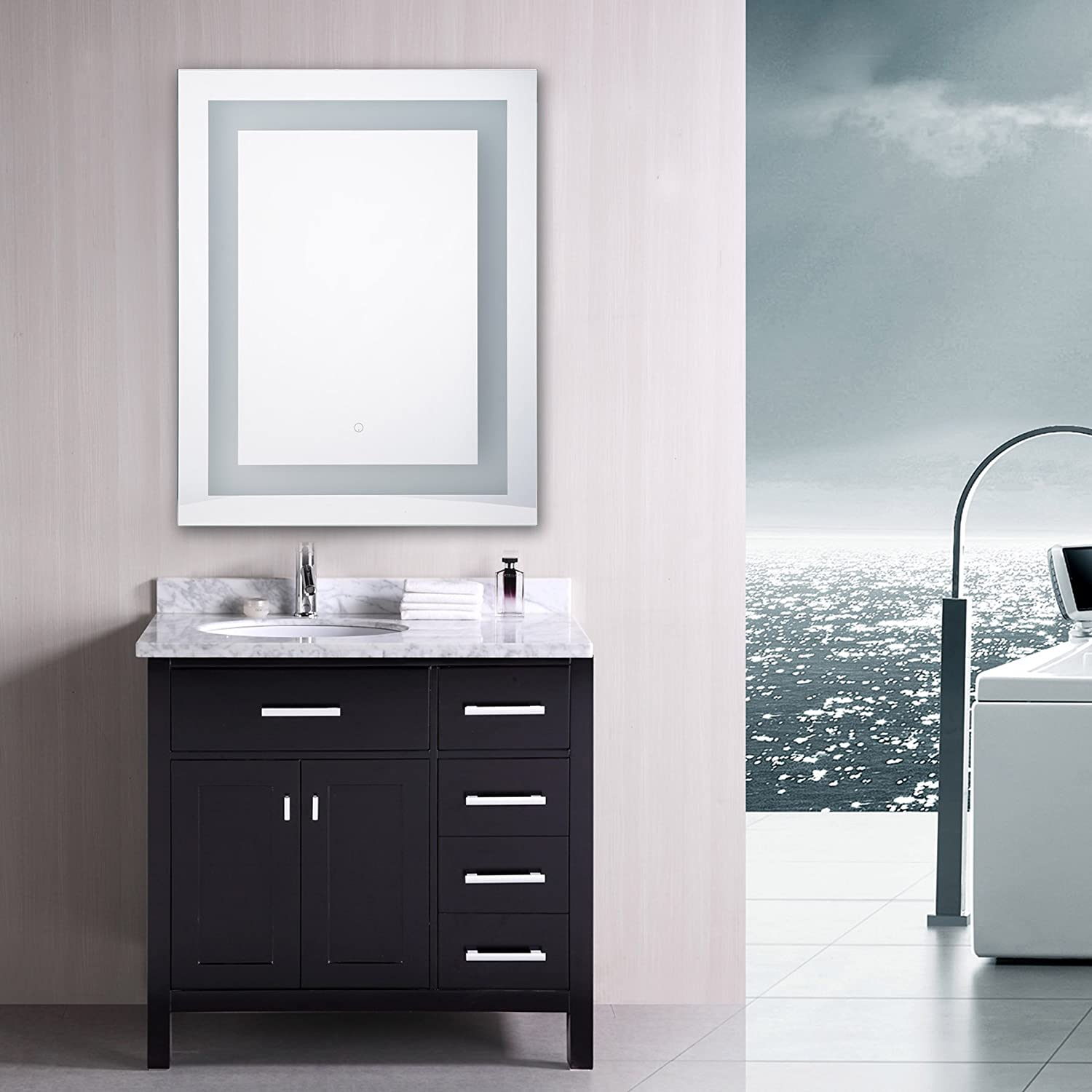 Amazon.com: CO-Z Dimmable LED Lighted Rectangle Bathroom Mirror ...