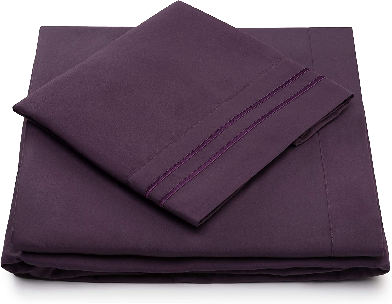 Cosy House Collection Split King Sheets for Adjustable Beds - Split King Bed Sheet Sets - Deep Pocket - Super Soft Hotel Bedding - Cool & Wrinkle Resistant - SplitKing Sheets (Split King, Purple)