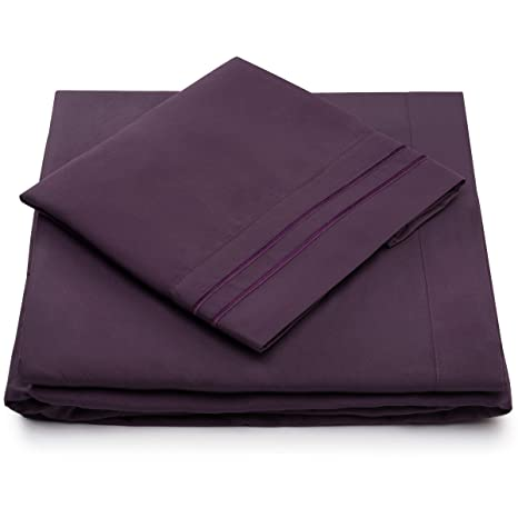 7506afa051 Cosy House Collection Queen Size Bed Sheets - Purple Luxury Sheet Set - Deep  Pocket - Super Soft Hotel Bedding - Cool   Wrinkle Free - 1 Fitted