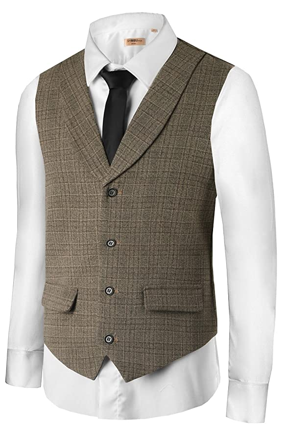 Retro Clothing for Men | Vintage Men's Fashion Hanayome Mens British Style Slim Fit Chain Point 4 Button Patry Dress vest VS09 $28.50 AT vintagedancer.com