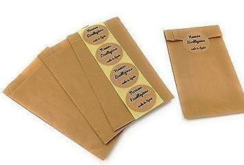 250 sobres bolsas de papel kraft 17 x 7 x 26 cm con etiqueta ...
