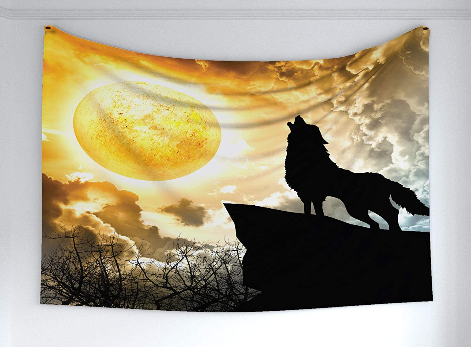 "Ambesonne Wolf Tapestry, Howling Animal Silhouette at The Top a Hill Full Moon at The Night Time Print, Fabric Wall Hanging Decor for Bedroom Living Room Dorm, 60"" X 40"", Yellow Black"